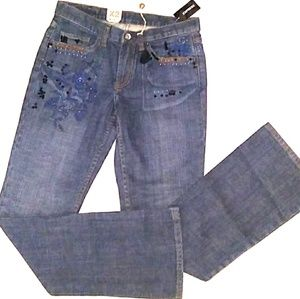 🆕SALE NWT Express X2 Embroidered Distressed Denim